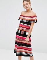 Oasis Stripe Bardot Dress