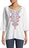 Johnny Was Lootie Floral-Embroidered Blouse