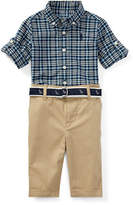 Ralph Lauren Oxford Plaid Shirt w/ Pants & Anchor Belt, Size 9-24 Months
