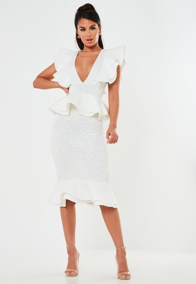 Missguided White Lace Ruffle Scuba Midi Dress