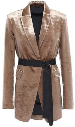 Brunello Cucinelli Belted Cotton-blend Crushed-velvet Blazer