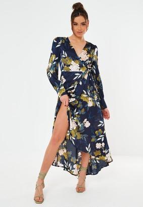 Missguided Navy Floral Satin Wrap Midi Dress