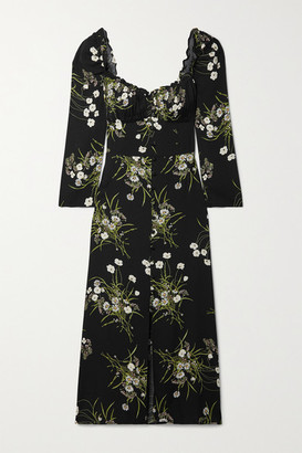 Reformation Fairway Floral-print Crepe Midi Dress - Black