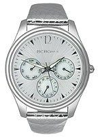 BCBGMAXAZRIA BCB Girls Women's Quartz Watch with Silver Dial Analogue Display and Leather Strap GL2074
