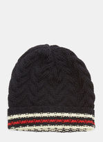 Thom Browne Striped Cable Knit Beanie Hat In Navy