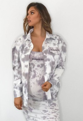 Missguided Lilac Tie Dye Jersey Maternity Shirt