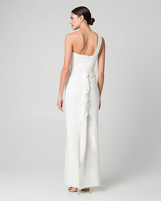 Le Château Knit One Shoulder Ruffle Gown