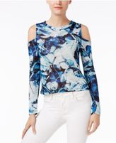 Bar III Hacci Printed Cold-Shoulder Top, Created for Macy's