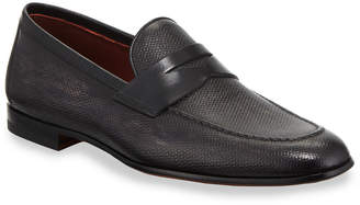 Magnanni Men's Textured Leather Penny Loafers