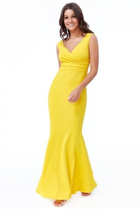 Goddiva Lemon Pleated Wrap Hem Frill Maxi Dress