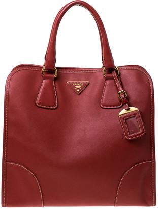 Prada Red Saffiano Leather Satchel