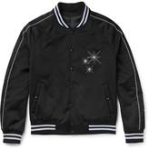 Lanvin Embroidered Satin Bomber Jacket - Black