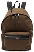 Saint Laurent City Leather-trimmed Backpack - Mens - Khaki