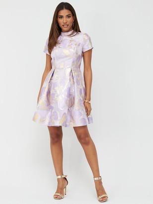 Very MetallicJacquard A-Line Mini Dress - Print