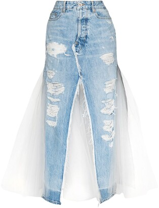 Unravel Project Distressed Panelled Denim Skirt