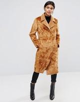 Asos Longline Paneled Faux Fur Coat