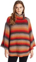 Democracy Women's Split Cowl Neck Space Dye Poncho