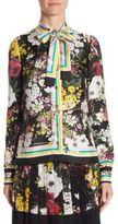 Dolce & Gabbana Floral-Print Silk Tie-Neck Blouse