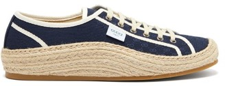 Gucci Gg Jacquard Espadrille Trainers - Mens - Navy Multi