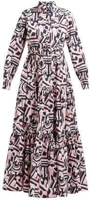 La DoubleJ Bellini Tetris Print Cotton Maxi Shirtdress - Womens - Black Pink