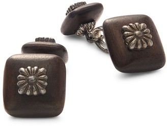 Wood Sterling Silver Square Cufflinks