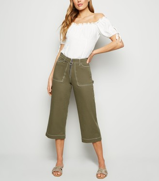 New Look Contrast Stitch Wide Leg Jeans