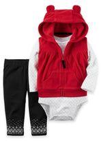 Carter's 3-Piece Hooded Fleece Vest, Bodysuit and Pant Set in Red/Black