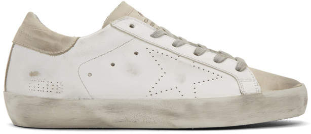 Golden Goose White and Grey Perforated Superstar Sneakers