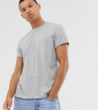 Asos Design DESIGN Tall t-shirt with crew neck and roll sleeve in gray marl