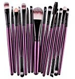 Fabal 15 Pcs/Sets Eye Shadow Foundation Eyebrow Lip Brush Makeup Brushes Tool (Purple)