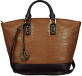 Cognac & Brown Embossed Leather Tote