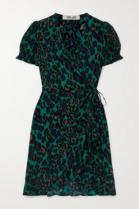 Diane von Furstenberg Emilia Ruffled Leopard-print Crepe Mini Wrap Dress - Green