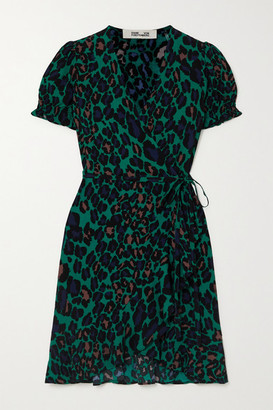 Diane von Furstenberg Emilia Ruffled Leopard-print Crepe Wrap Mini Dress. - Green