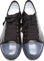 Lanvin Black Leather Lizardskin Cap-Toe Sneakers
