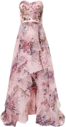 Marchesa Sequin-Embellished Floral-Print Gown
