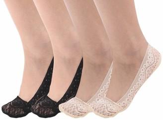 Zeltauto Women's Invisible Lace Socks Non Slip No Show Shoe Liner 4 Pairs M Light Grey