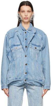 Y/Project SSENSE Exclusive Blue Denim Pop-Up Jacket