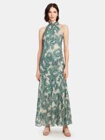 Diane von Furstenberg Leeann Metallic Silk Halter Neck Gown