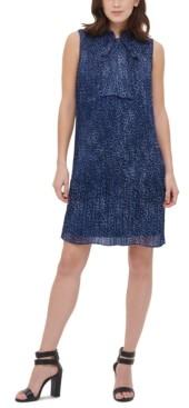DKNY Tie-Neck Pleated Dress