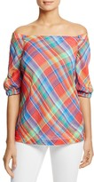 Lauren Ralph Lauren Cold Shoulder Madras Plaid Top