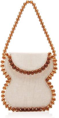BY FAR Frida Beaded Linen Shoulder Bag