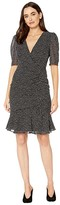 Adrianna Papell Darling Dot Printed Dress with Shirring Details (Black/Ivory) Women's Dress