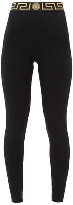 Versace Logo-jacquard Technical Jersey Leggings - Womens - Black