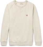 MAISON KITSUNÉ Appliquéd Mélange Fleece-Back Cotton-Jersey Sweatshirt