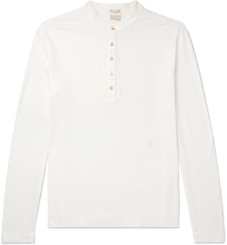 Massimo Alba Hawai Watercolour-Dyed Cotton And Cashmere-Blend Henley T-Shirt