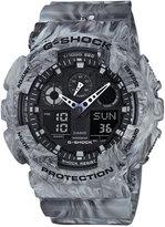 G-Shock Men's Analog-Digital Gray Marbled Strap Watch 55x51mm GA100MM-8A