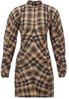 Ganni Checked Cotton-blend Seersucker Mini Dress - Womens - Beige