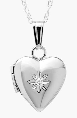 Mignonette 14k White Gold Heart Locket Necklace