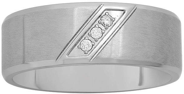 JCPenney MODERN BRIDE Mens Diamond-Accent Stainless Steel 8mm Comfort Fit Wedding Band