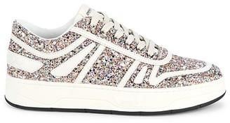 Jimmy Choo Hawaii Glitter Leather Sneakers
